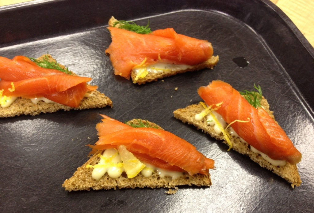 Kitchen skills 1 last day with canap s the sweetest crumb for Smoked salmon roulade canape
